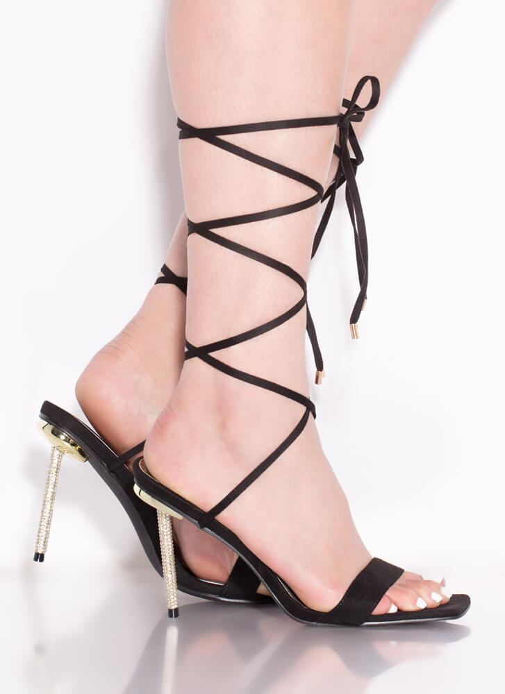 Sexy Talk Lace-Up Jeweled Stiletto Heels BLACK
