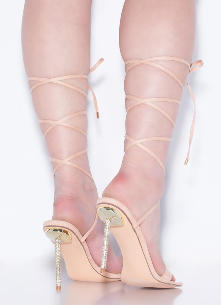 Sexy Talk Lace-Up Jeweled Stiletto Heels NUDE