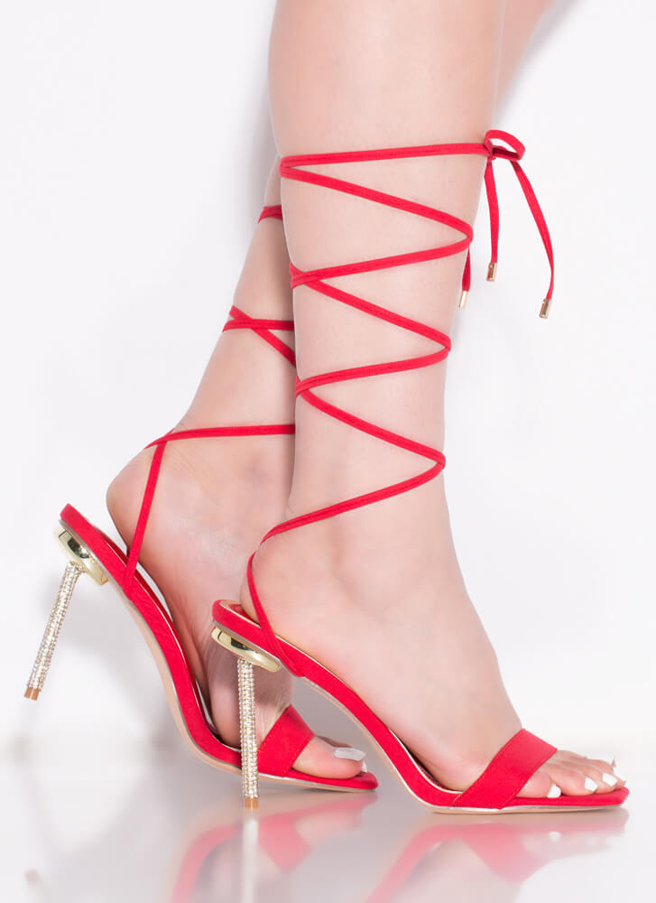 Sexy Talk Lace-Up Jeweled Stiletto Heels RED