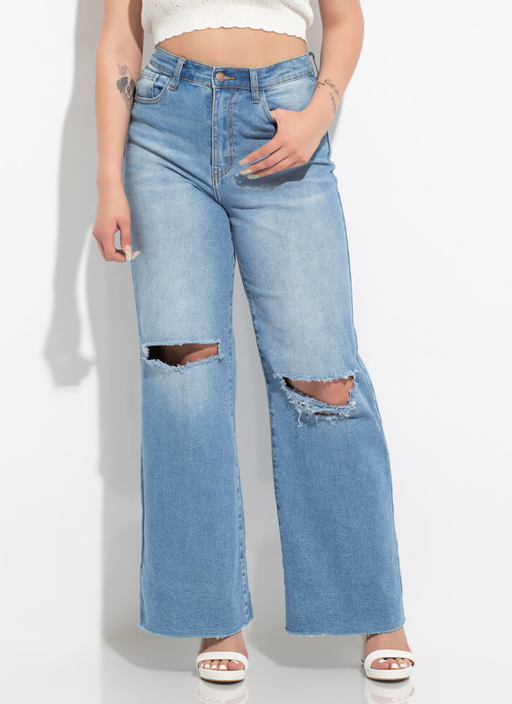 Want And Kneed Wide-Leg Cut-Out Jeans MEDBLUE