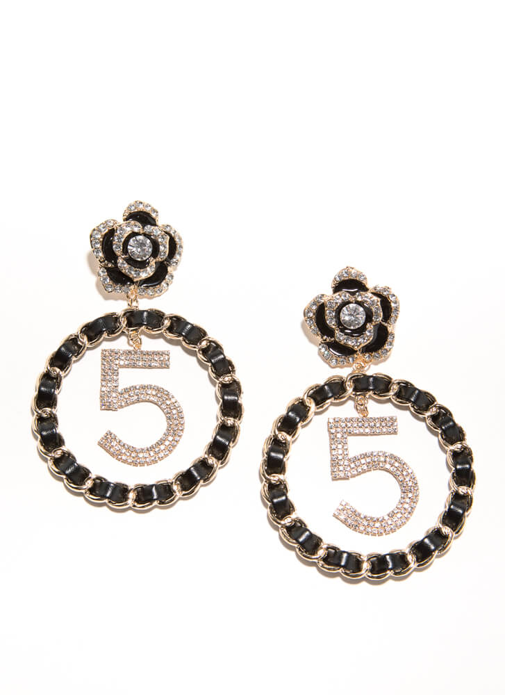 5 Times Jeweled Chained Flower Earrings GOLDBLACK