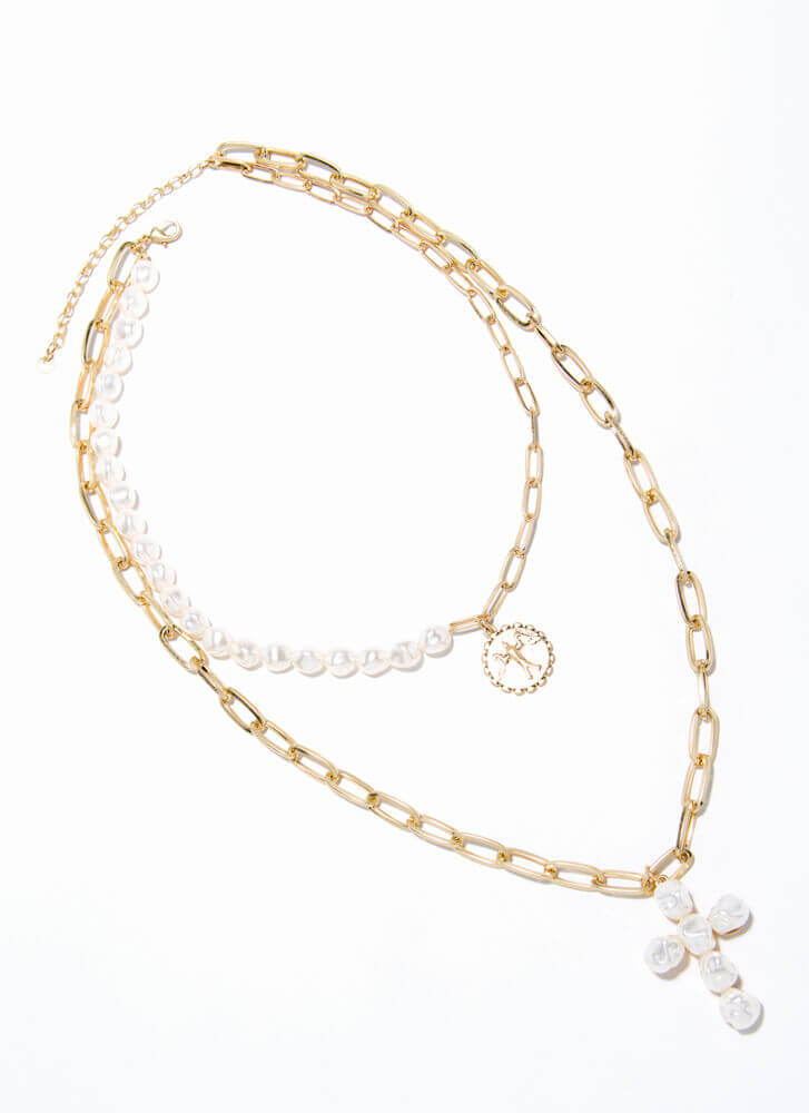 Add Pearls Layered Charm Necklace GOLD