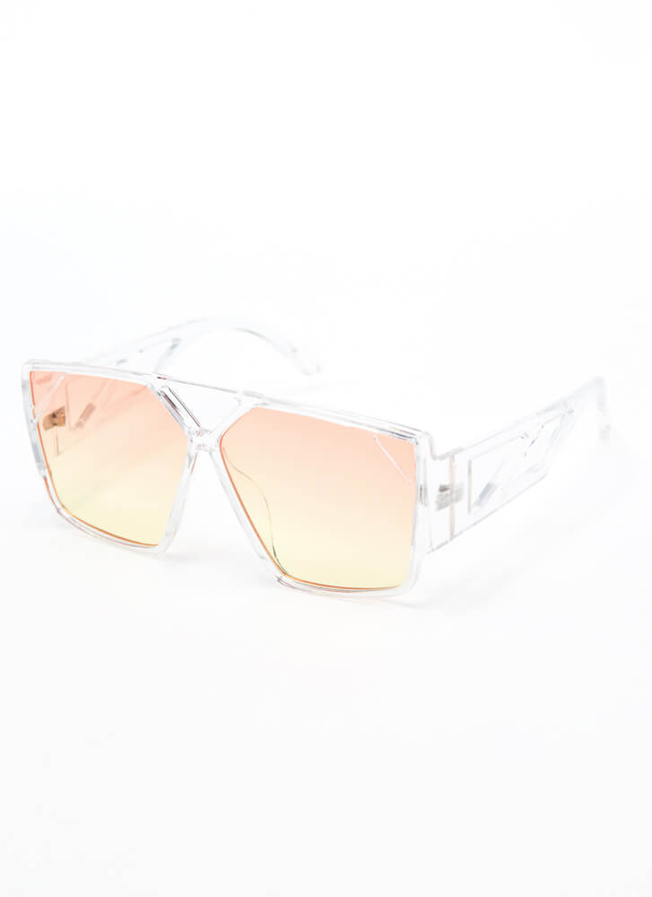 Cut-Out Creation Geometric Sunglasses YELLOW