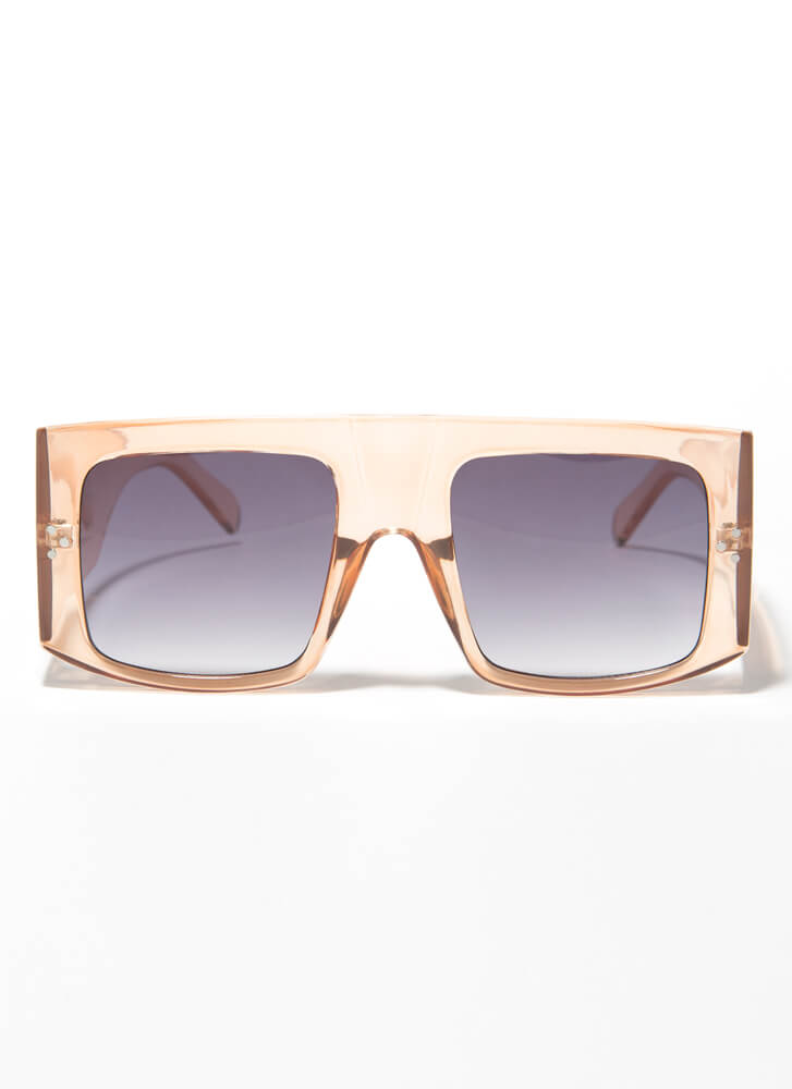 Wide Angle Lens Chunky Sunglasses CLEARBROWN