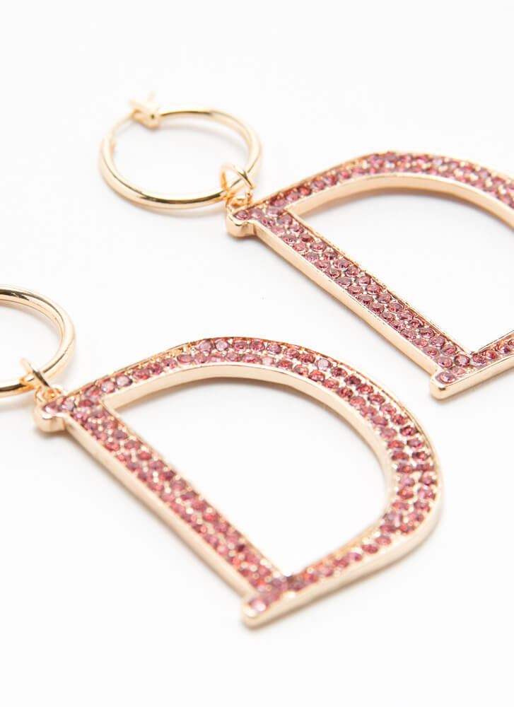 She Wants The D Jeweled Hoop Earrings GOLDPINK