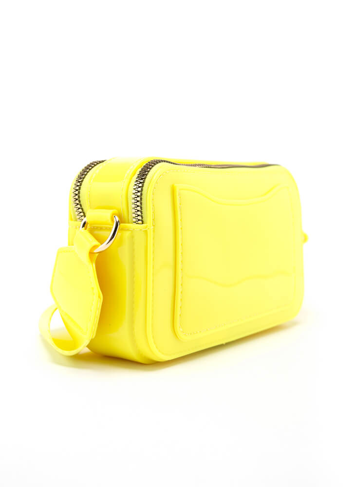 Fashion And Function Glossy PVC Purse YELLOW