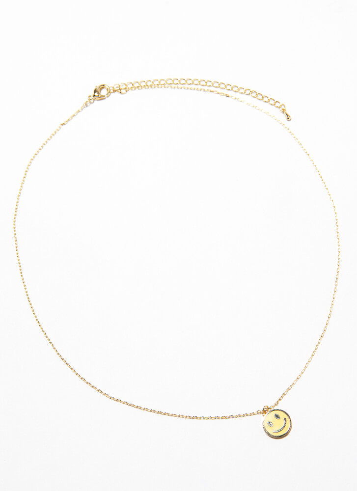 Put On A Happy Face Charm Necklace YELLOW