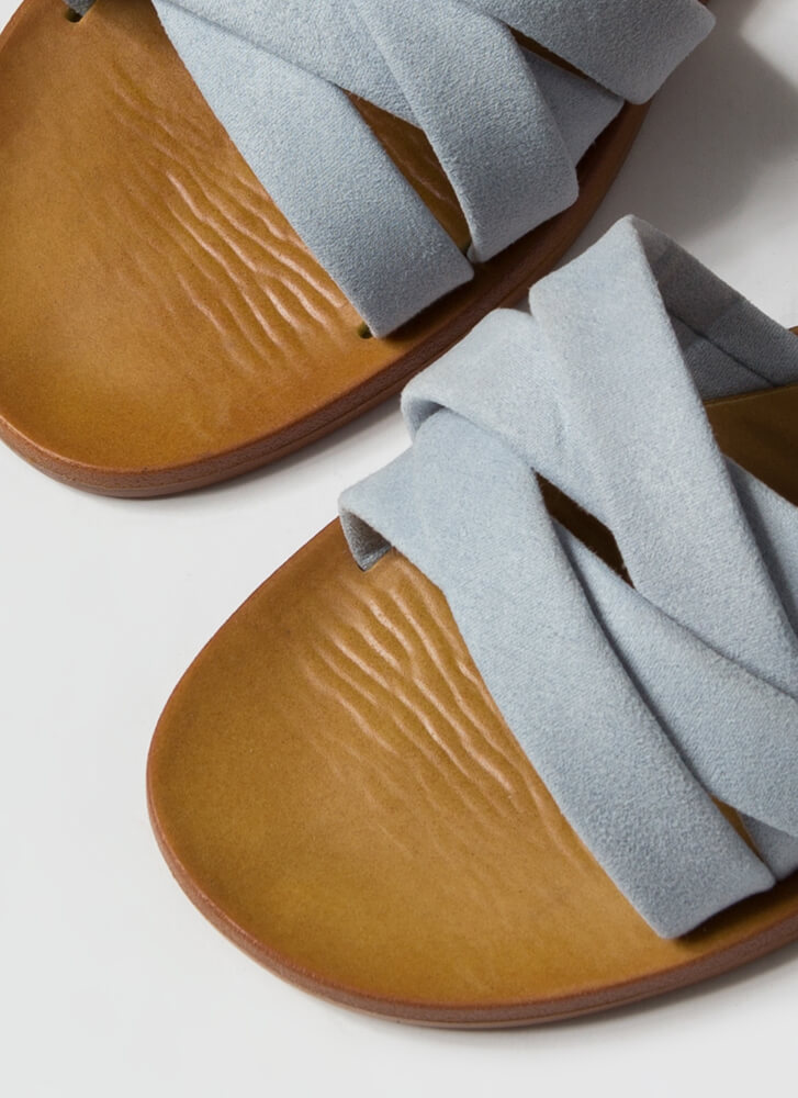4 You Strappy Faux Suede Slide Sandals BABYBLUE