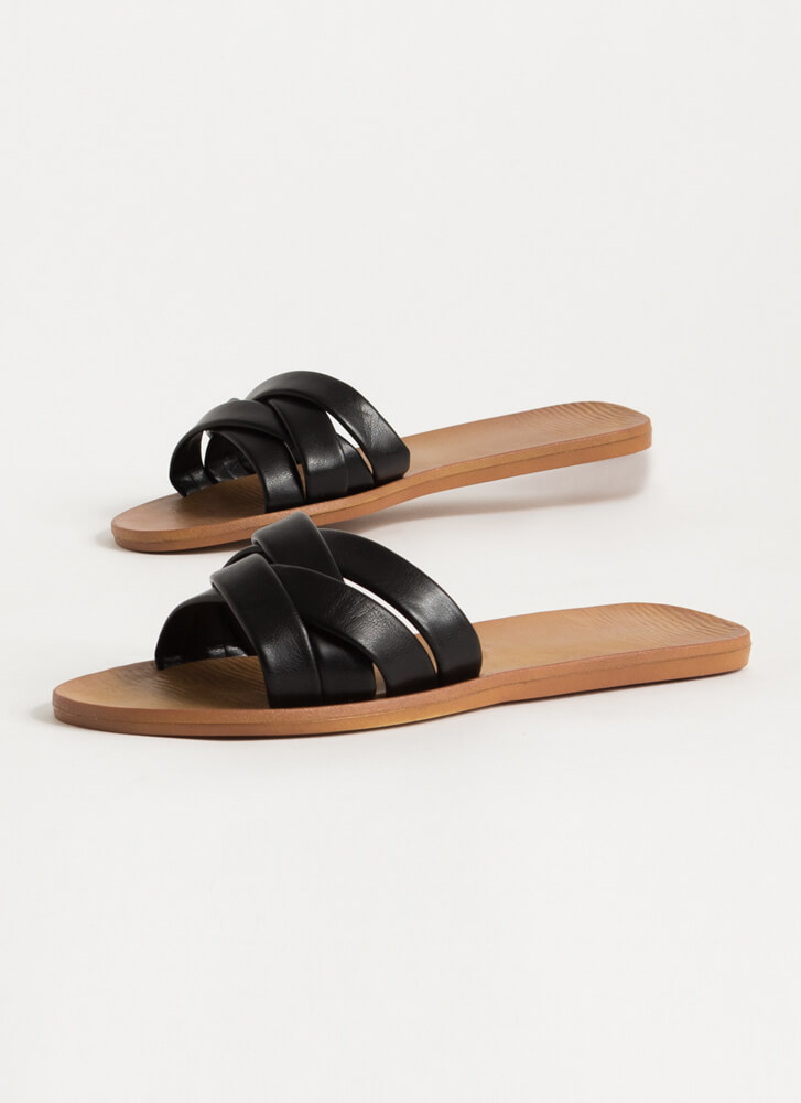 4 You Strappy Faux Leather Slide Sandals BLACK