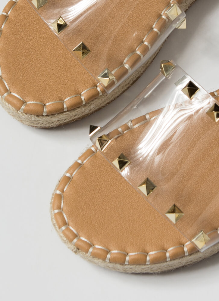 The Pyramids Clear Studded Slide Sandals CLEAR