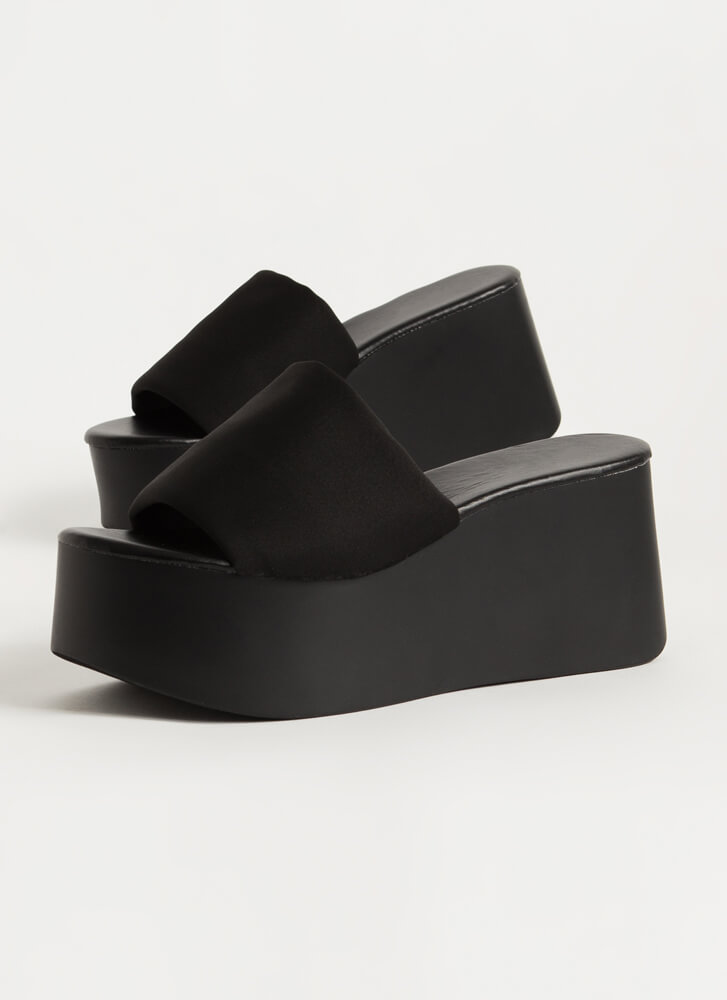 Higher And Higher Chunky Platform Wedges BLACK