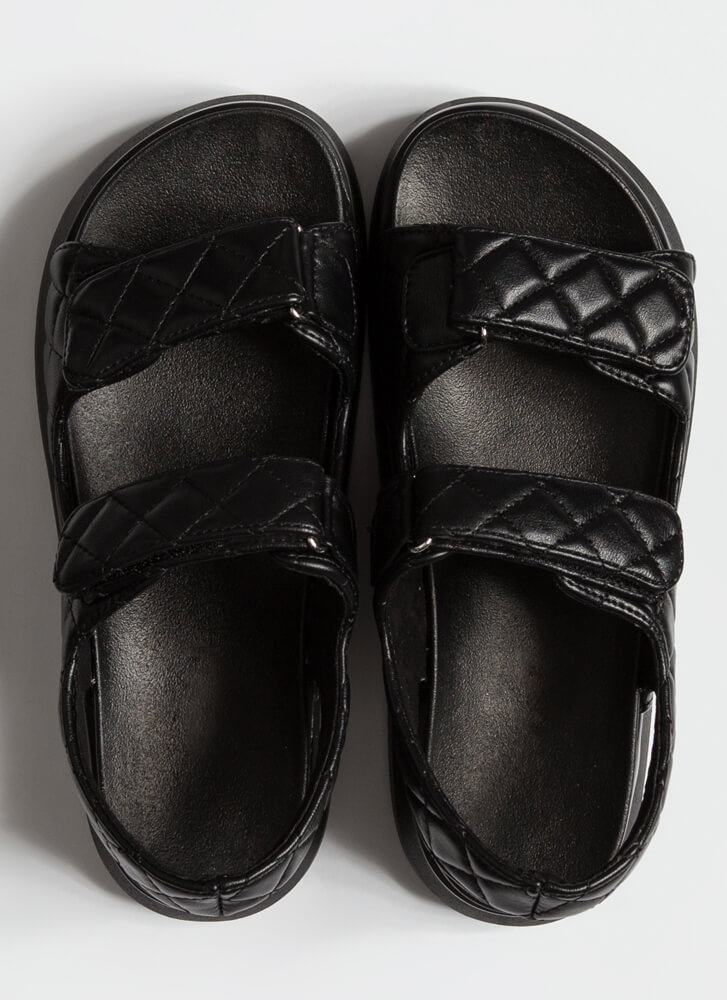Live In Luxury Quilted Platform Sandals BLACK