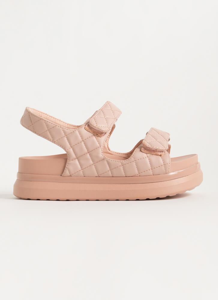 Live In Luxury Quilted Platform Sandals BLUSH