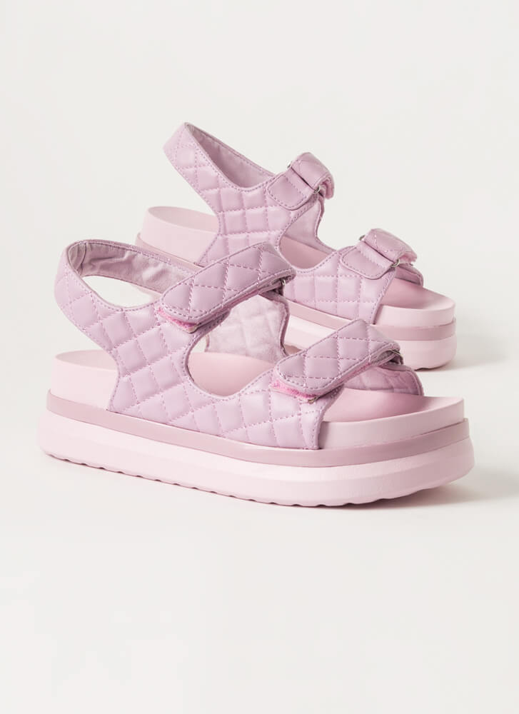 Live In Luxury Quilted Platform Sandals LAVENDER