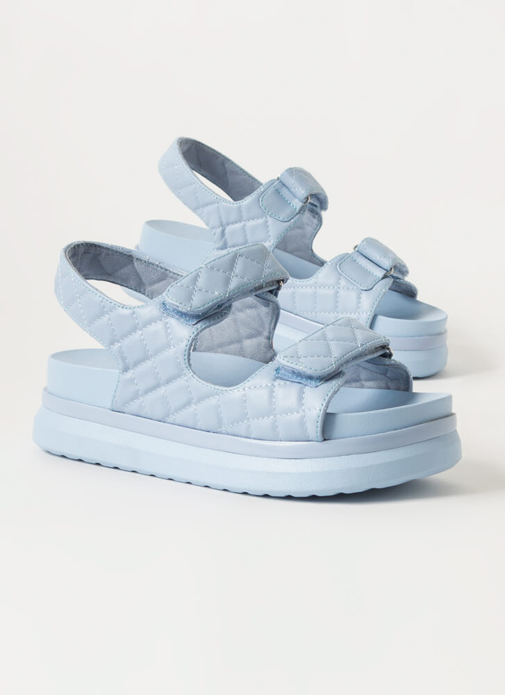 Live In Luxury Quilted Platform Sandals LTBLUE