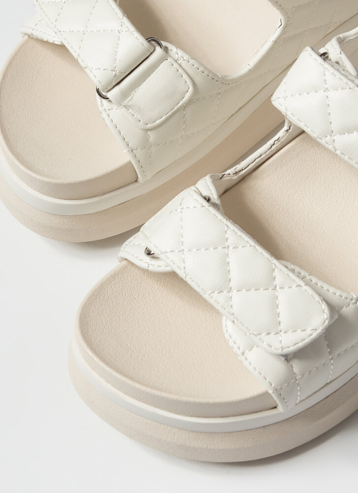 Live In Luxury Quilted Platform Sandals WHITE