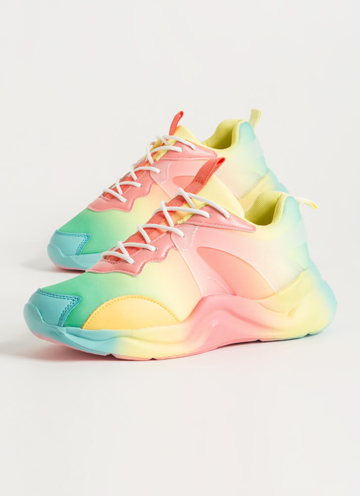 Colors In The Wind Airbrushed Sneakers YELLOWCORAL