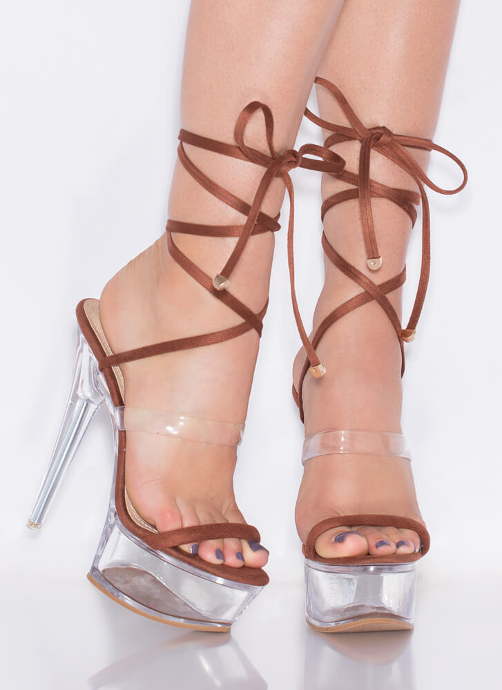 Sexpot Clear Lucite Lace-Up Platforms BROWN