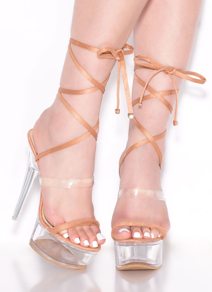 Sexpot Clear Lucite Lace-Up Platforms NUDE