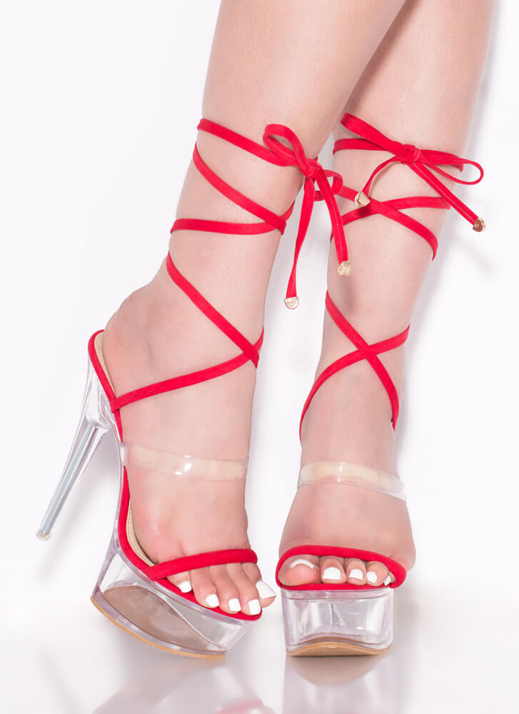 Sexpot Clear Lucite Lace-Up Platforms RED