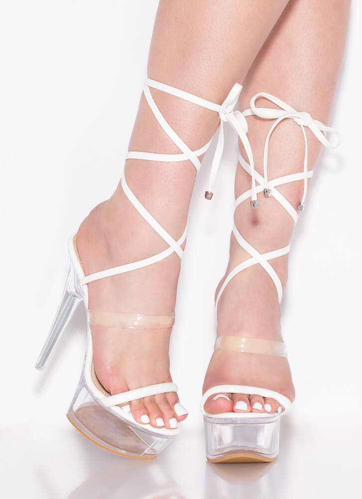 Sexpot Clear Lucite Lace-Up Platforms WHITE