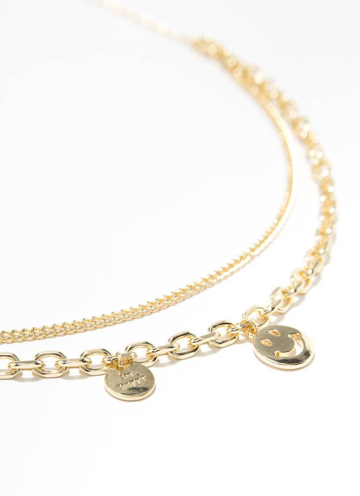 Be Happy Layered Happy Face Necklace GOLD