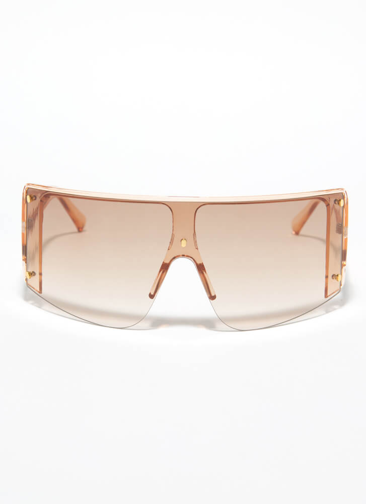 Wind In My Face Shield Sunglasses BROWN