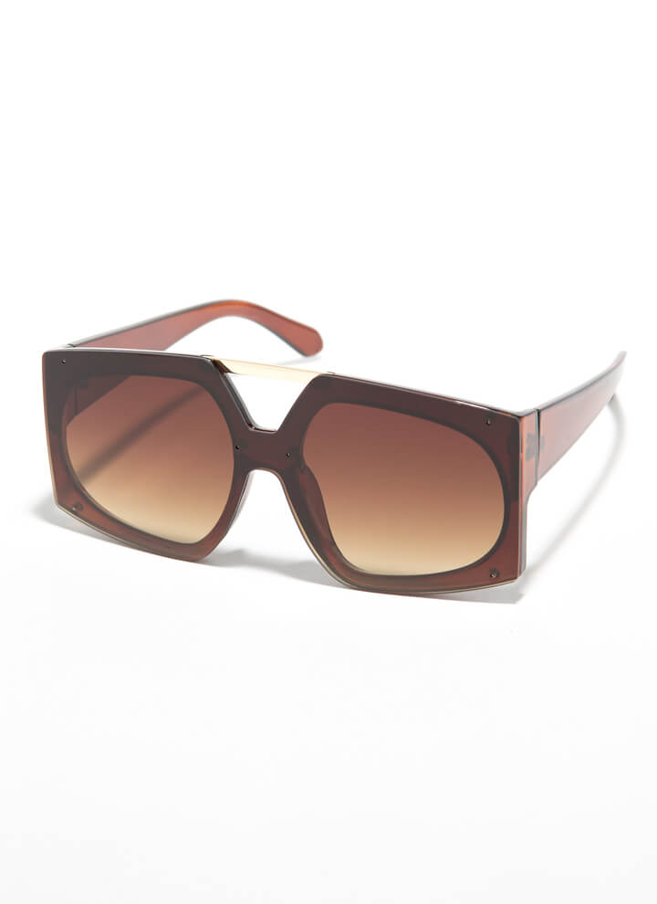 Cut-Out For My Bar Accent Sunglasses BROWN