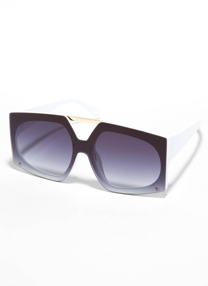 Cut-Out For My Bar Accent Sunglasses WHITE