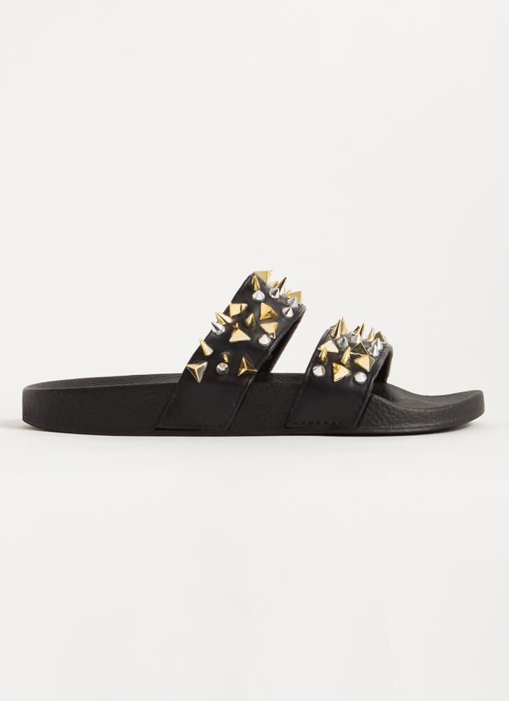 Spikes Studs And Slide Sandals BLACK