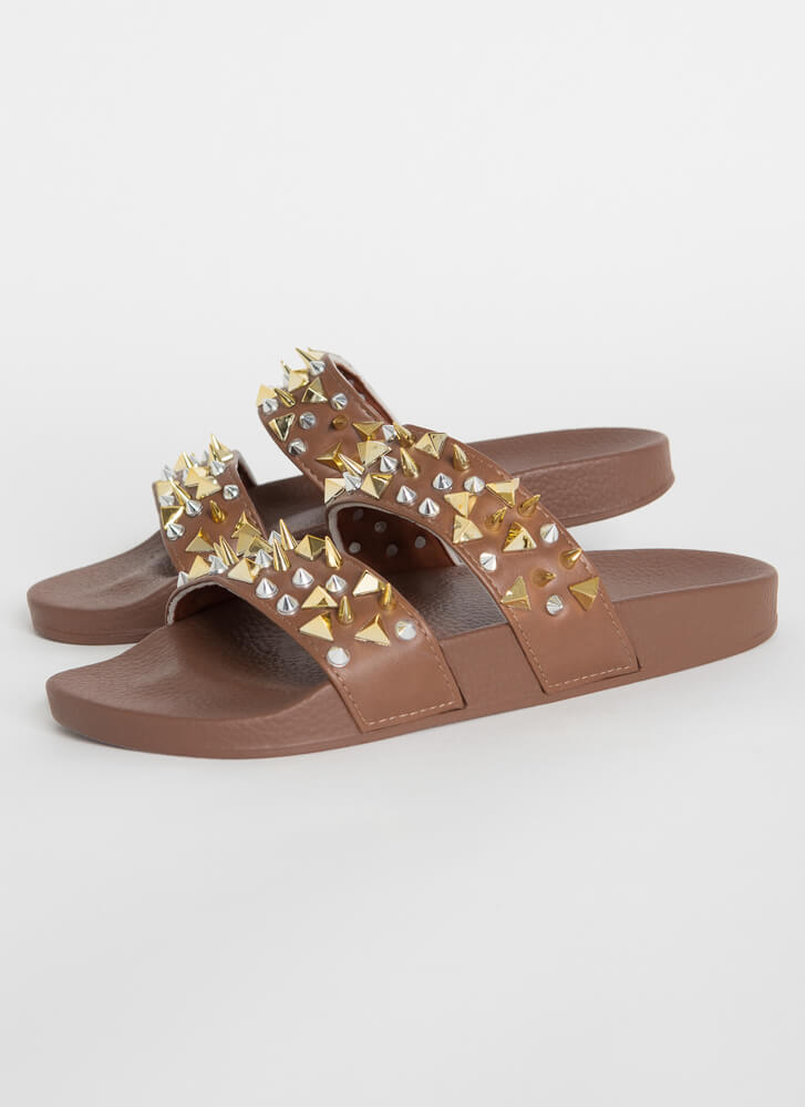 Spikes Studs And Slide Sandals BROWN