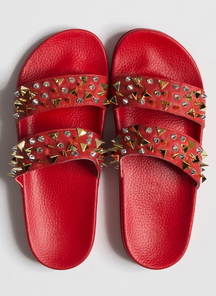 Spikes Studs And Slide Sandals RED