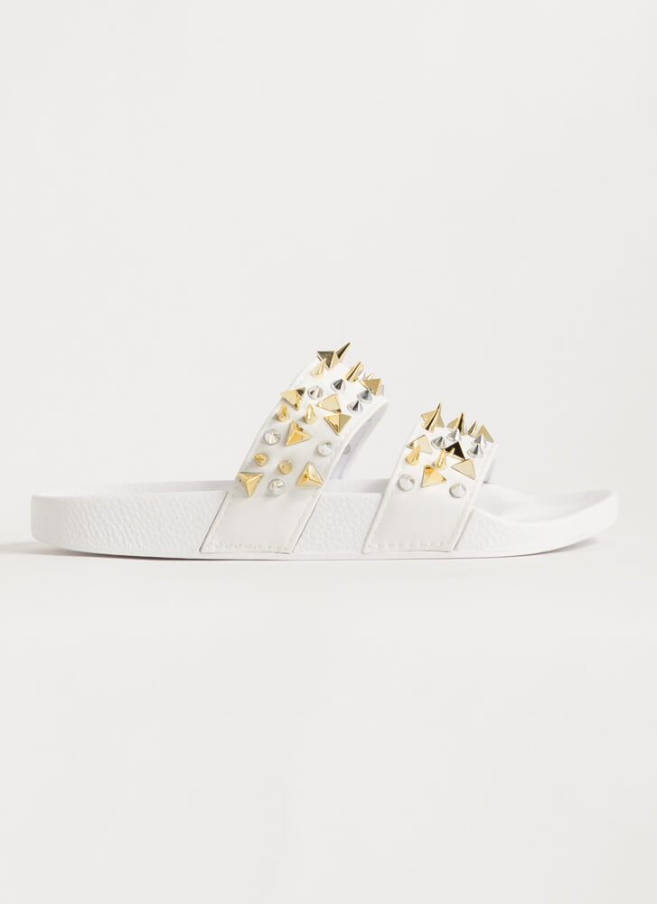 Spikes Studs And Slide Sandals WHITE