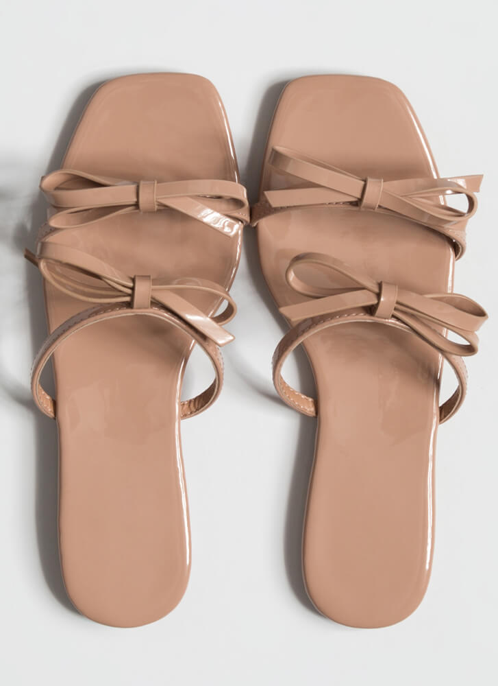 Just 4 You Bow Strap Slide Sandals NUDE