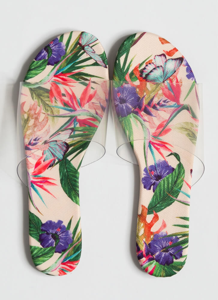 It's So Clear Tropical Slide Sandals FLORAL