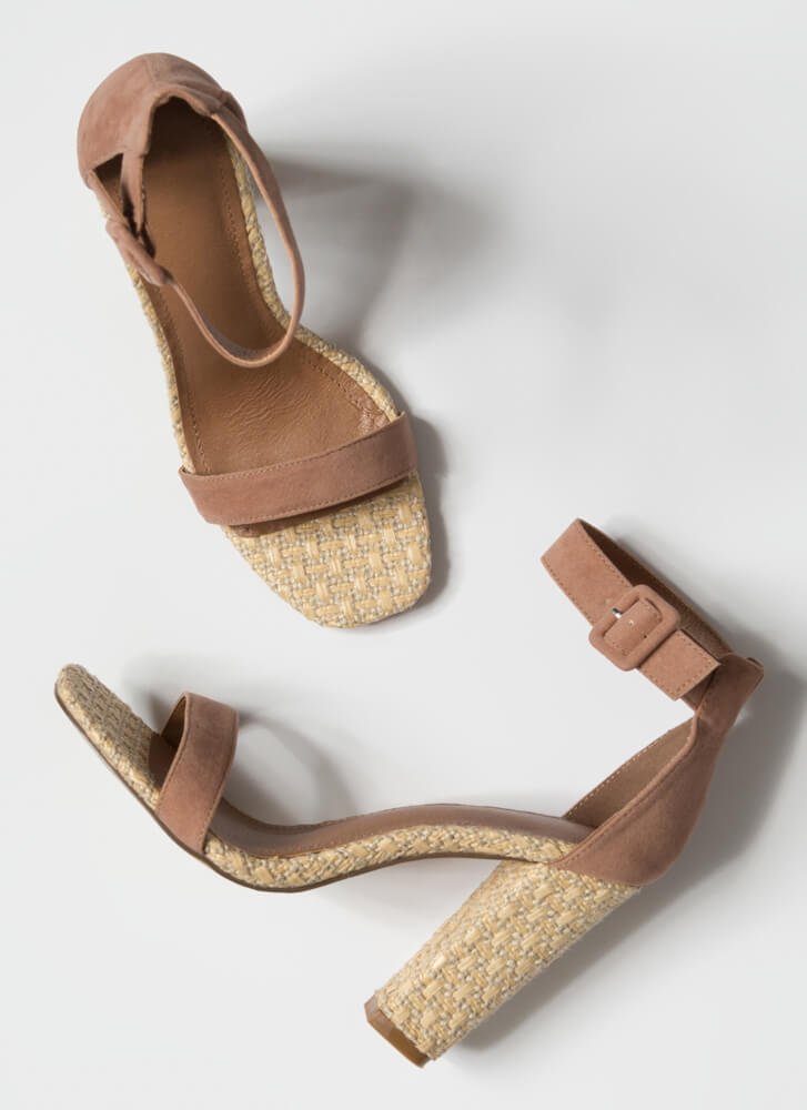 Daytime Chic Basketwoven Chunky Heels TAUPE