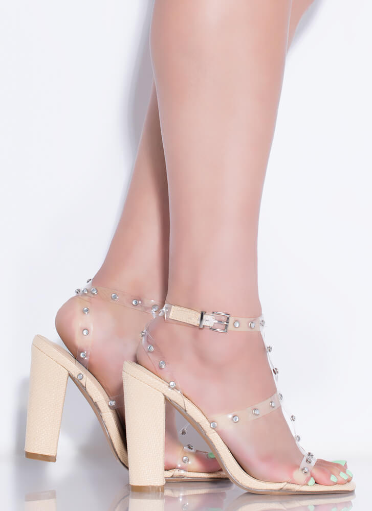 Clear-Minded Chunky Jewel-Studded Heels NATURAL