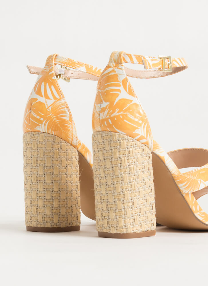 Palm Spring Chunky Tropical Heels YELLOW