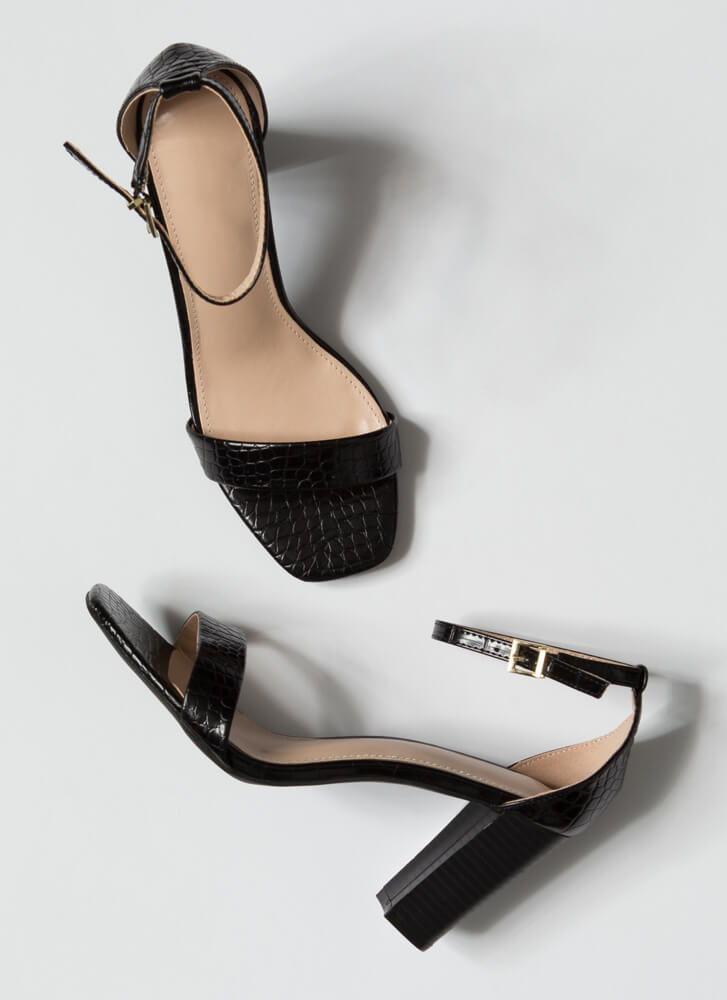 Reptile Lover Scaled Chunky Heels BLACK