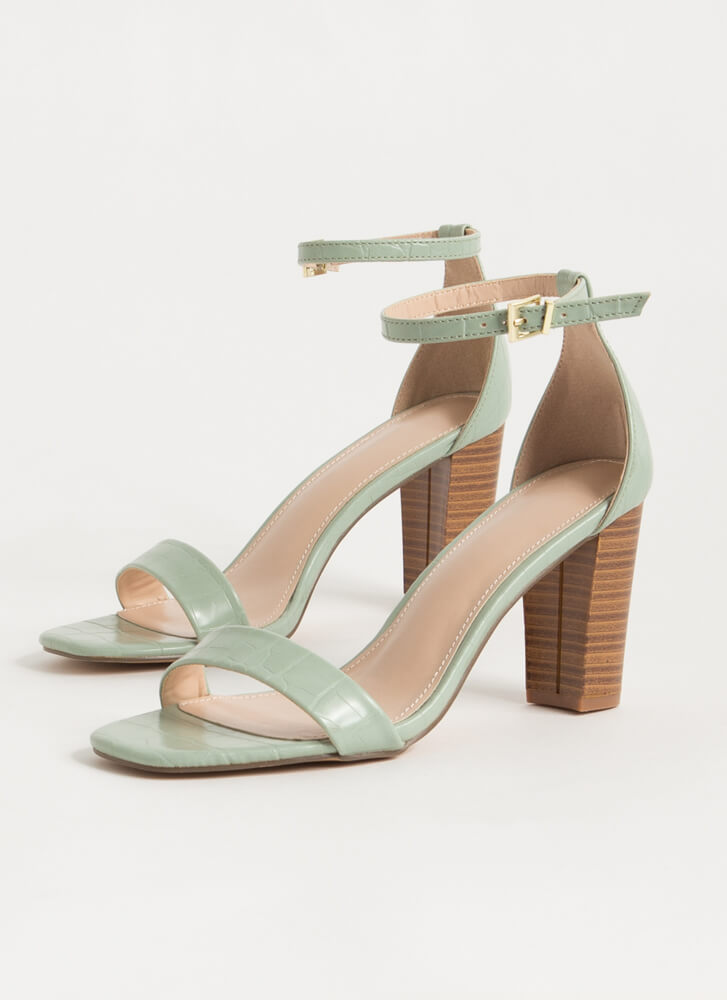 Reptile Lover Scaled Chunky Heels SAGE