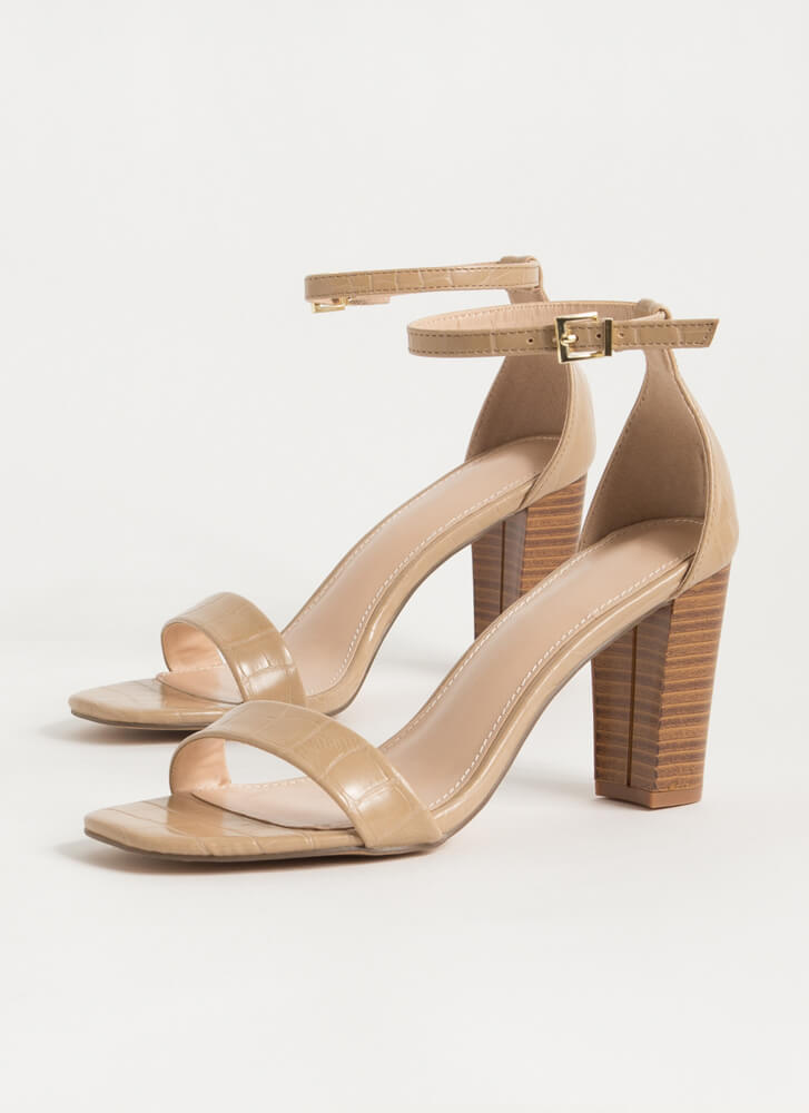 Reptile Lover Scaled Chunky Heels TAUPE