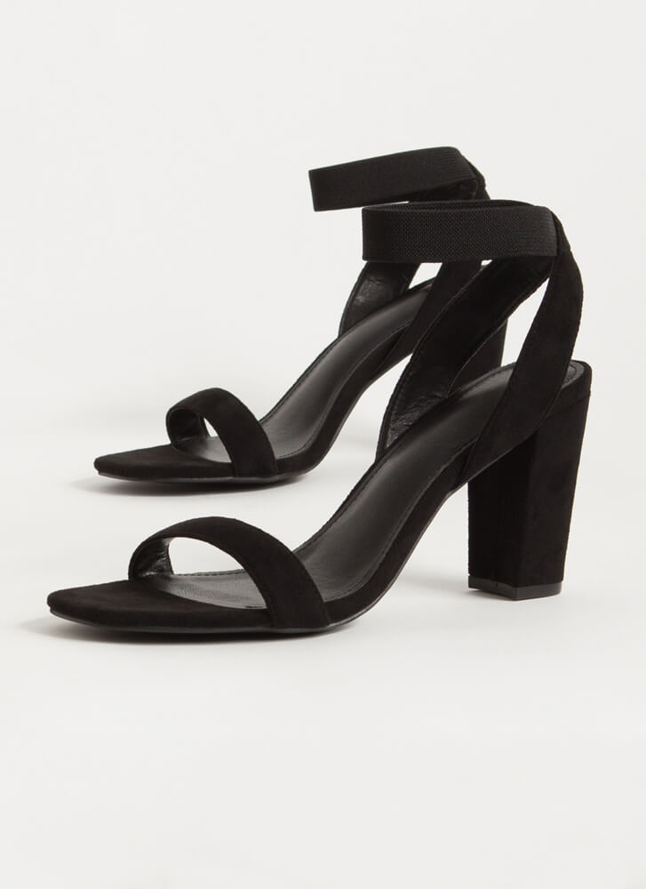 Gorge Stretchy Ankle Strap Chunky Heels BLACK