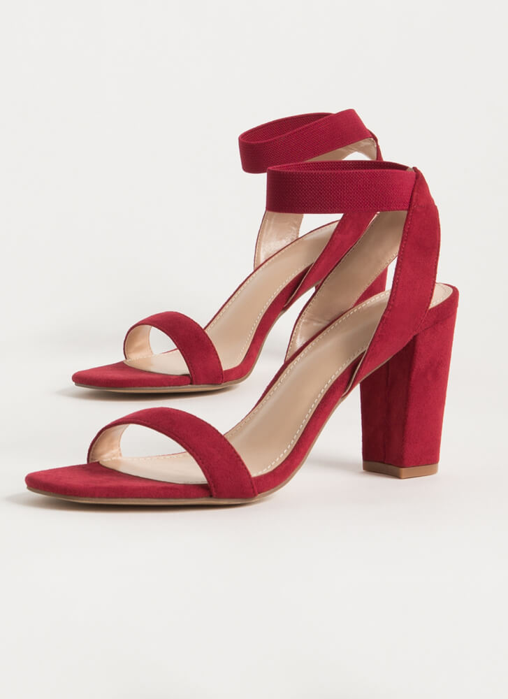 Gorge Stretchy Ankle Strap Chunky Heels WINE