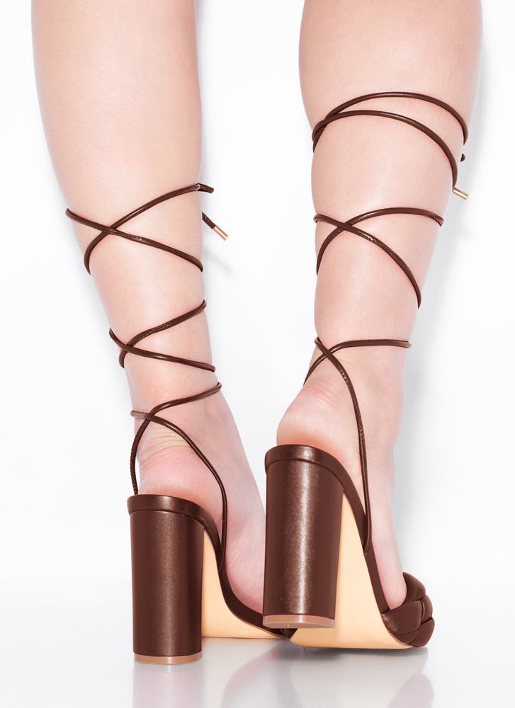 Weave Me Be Chunky Braided Lace-Up Heels CHOCOLATE