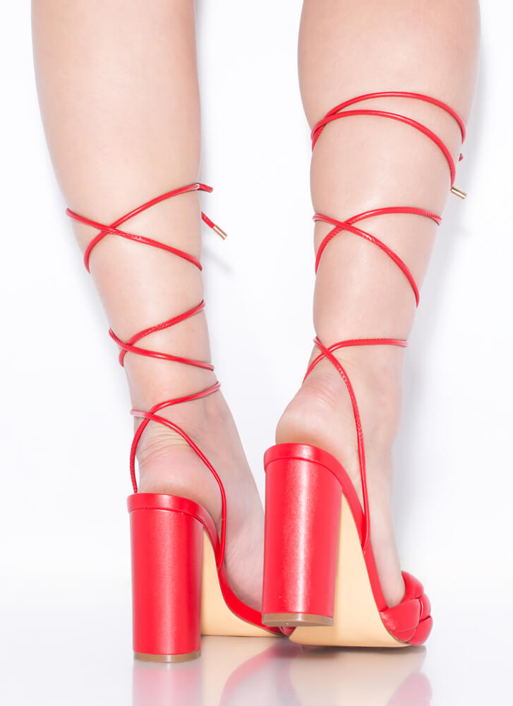 Weave Me Be Chunky Braided Lace-Up Heels RED