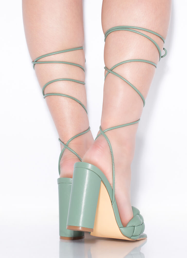 Weave Me Be Chunky Braided Lace-Up Heels SAGE