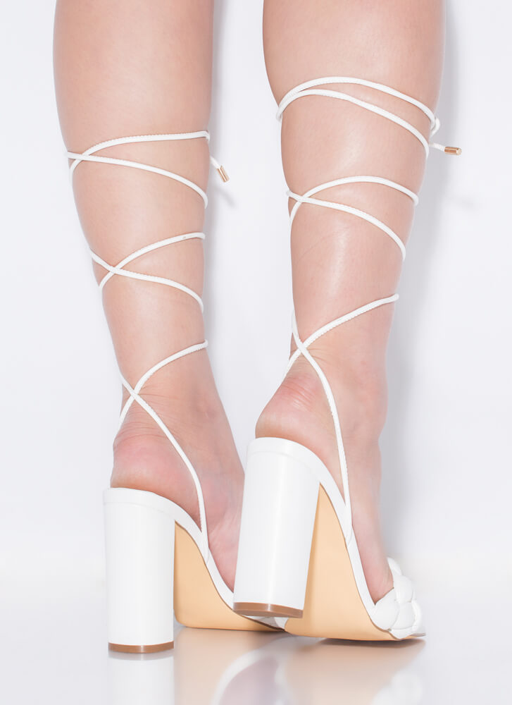 Weave Me Be Chunky Braided Lace-Up Heels WHITE