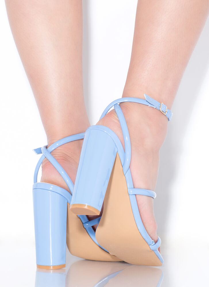One Two Three Faux Patent Chunky Heels BLUE
