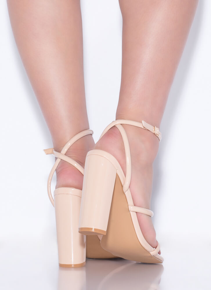 One Two Three Faux Patent Chunky Heels NUDE