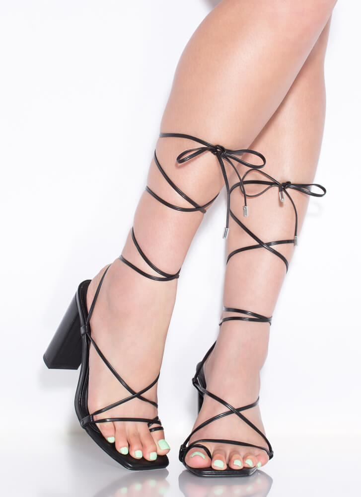 Dynamite Chunky Strappy Lace-Up Heels BLACK